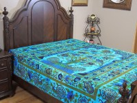 Peacock Bedding - Blue Tree of Life Cotton Bohemian Full ...