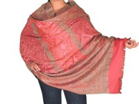 Beautiful Fancy Embroidered Kashmir Shawl - Coral Pink ...