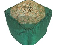 Green Floor Seating Comfy Pouf Cover - Zari Embroidered ...