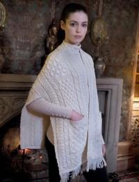 Pocket Shawl, Shawl with pockets, White | Aran Sweater Market