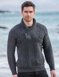 Mens shawl neck sweater, mens toggle sweater | Aran ...