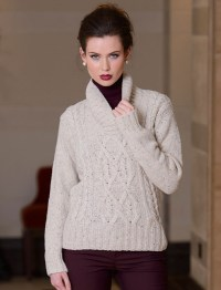 Women's Luxury Aran Shawl Neck Sweater, Cable knit shawl ...