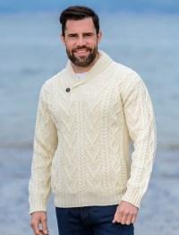 Mens Shawl Collar Sweater, Shawl Neck | Aran Sweater Market