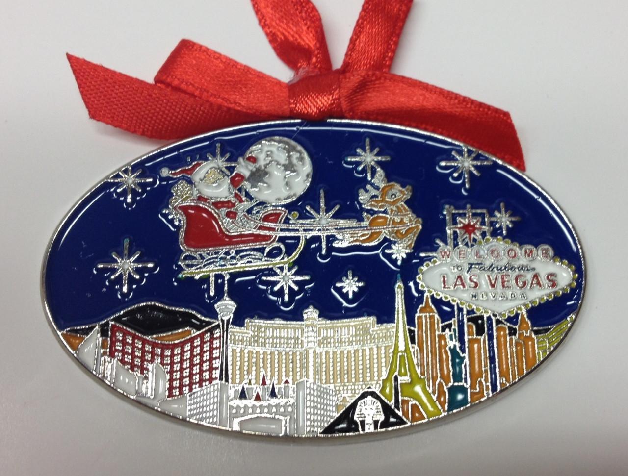 Las Vegas Sign Strip Hotels Christmas Tree Santa Sleigh