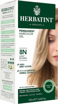 Herbatint Permanent Light Blonde 8N, Natural Hair Color Gel