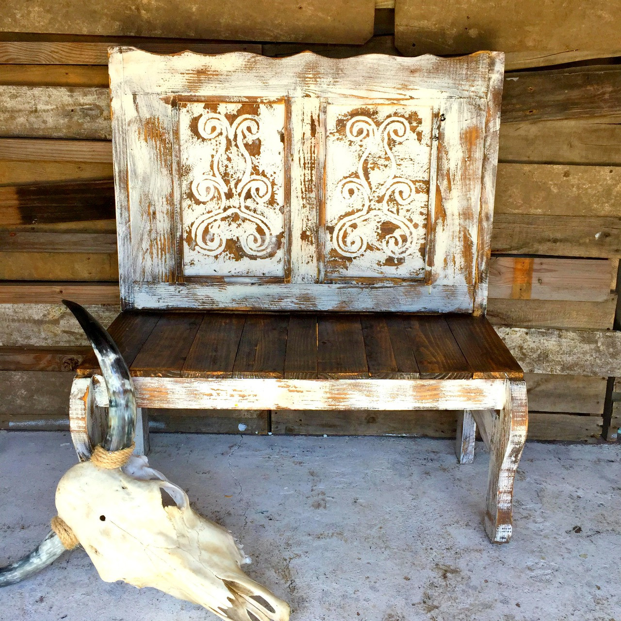Scroll Carved Bench Sofia S Rustic Furniture