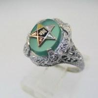 10k White Gold Green Stone Eastern Star Ring Size 4 3/4