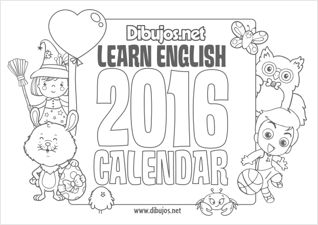 Nuevo Learn English Coloring Calendar for Kids 2016