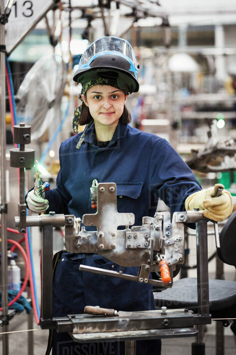 female skilled factory worker