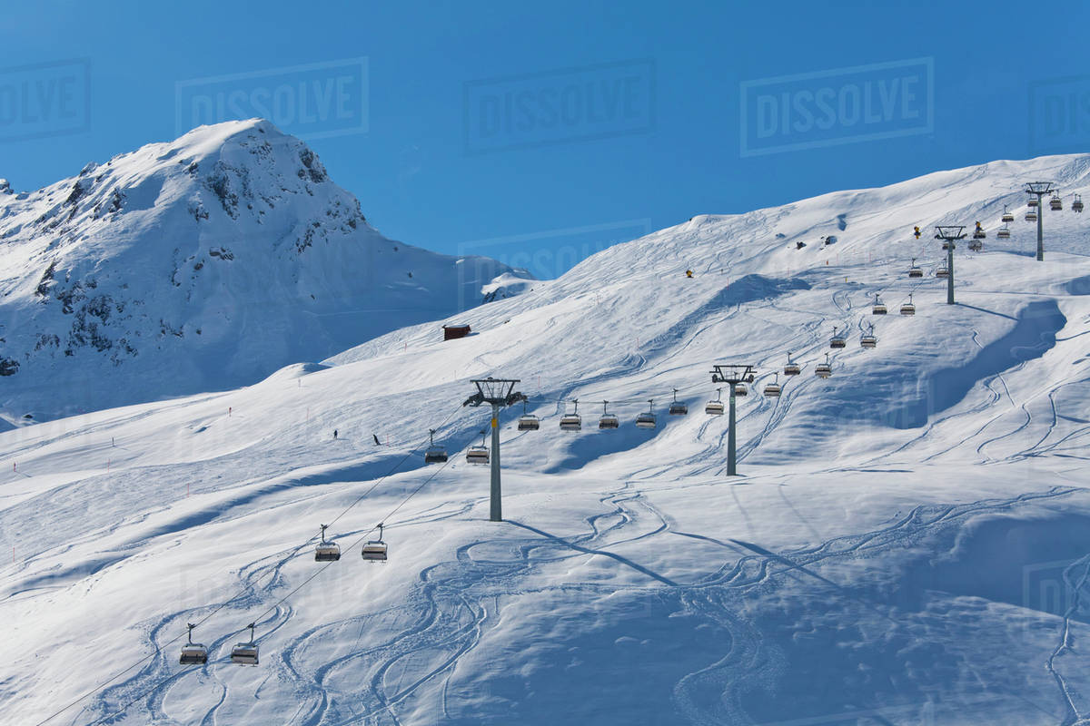 ski chair lift french bistro table and chairs nz switzerland carmenna view of stock photo dissolve