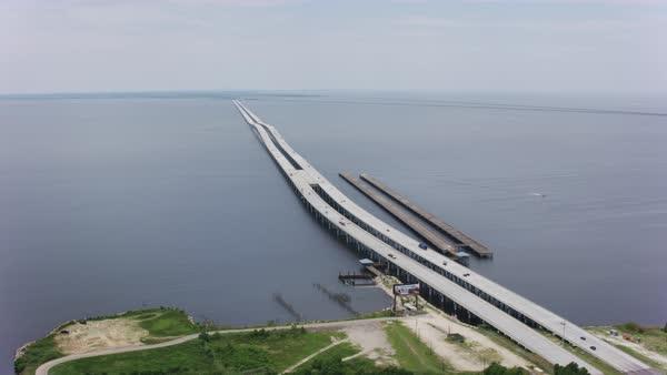 Aerial Shot Of I 10 Twin Span Bridge Crossing Lake