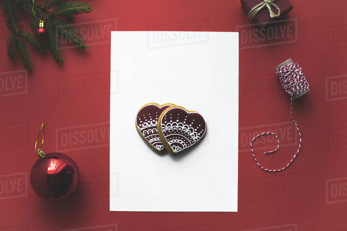 Blank Christmas Card With Gingerbread Cookies And Christmas Decorations Isolated D2115 211 730