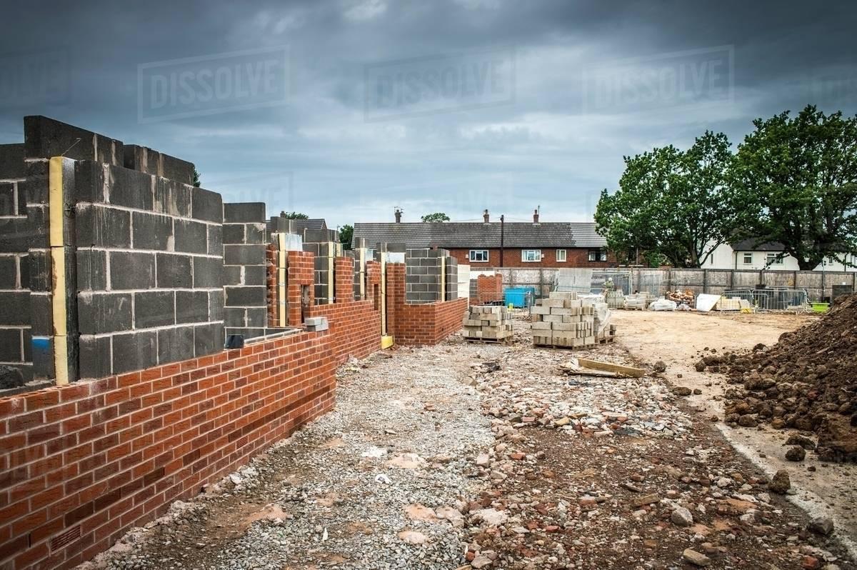 brick walls on construction