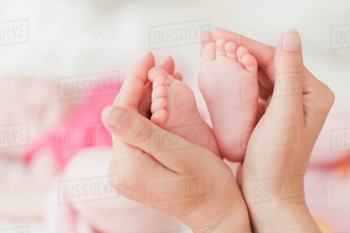 mothers hands cupping babys