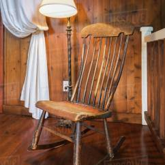 Wood Rocking Chair Styles Leather Reclining Chairs Uk Antique Wooden And Lamp Inside A New Hampton Style Home Quebec Canada