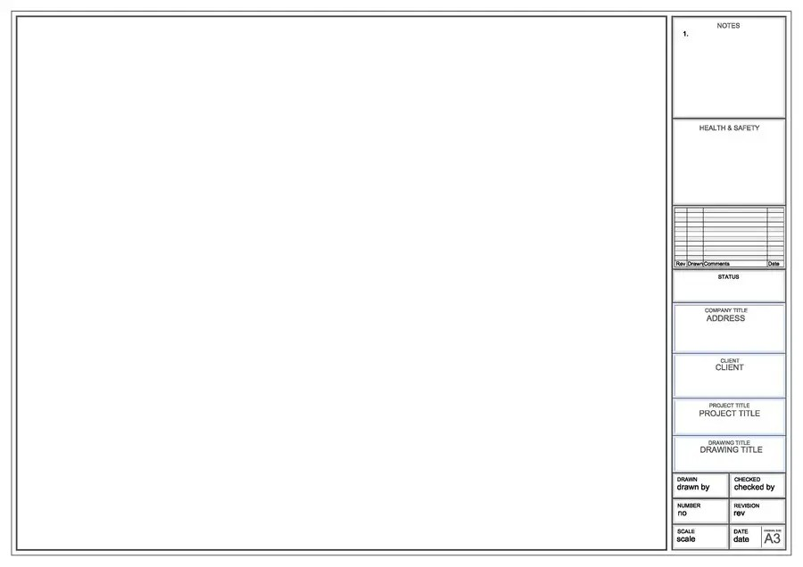 Entry #9 by KGP137 for Design a CAD drawing border for a