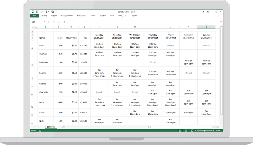 Laptop with  free excel employee schedule template also download for findmyshift rh