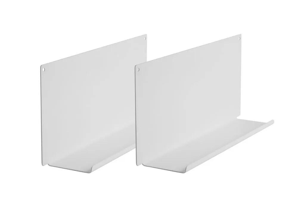 etagere murale lot de 2 45 x 10 cm acier blanc