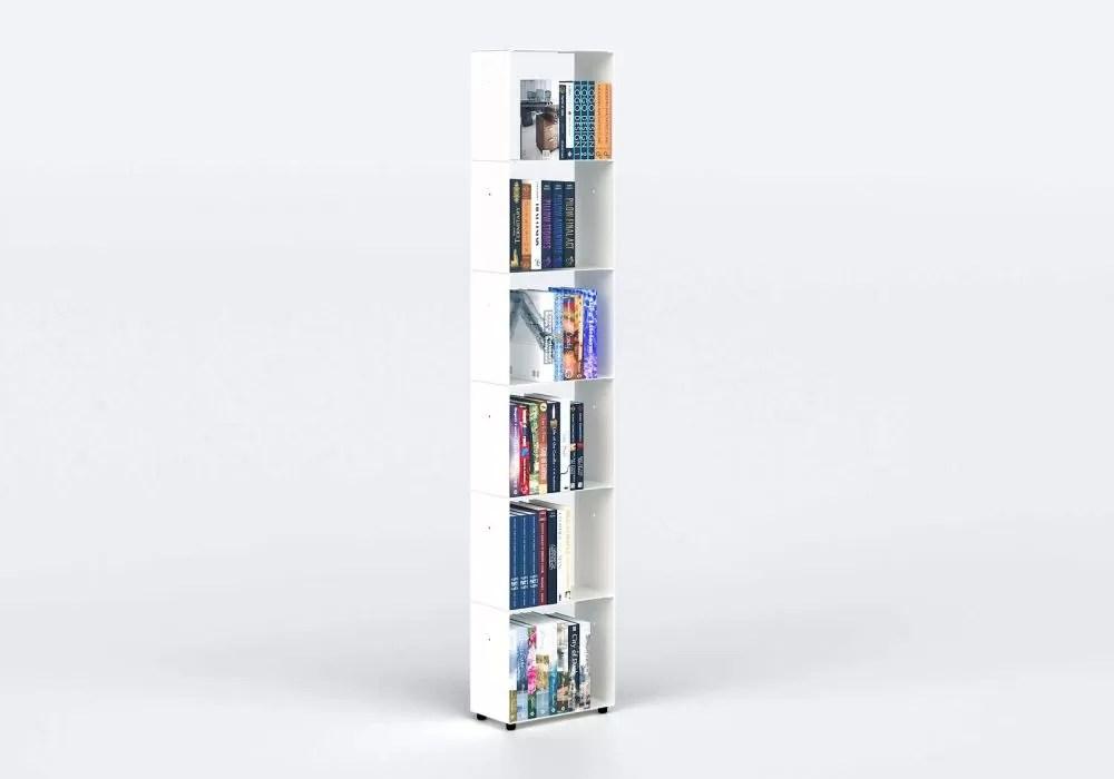 acheter bibliotheque colonne 30 cm metal blanc 6 niveaux