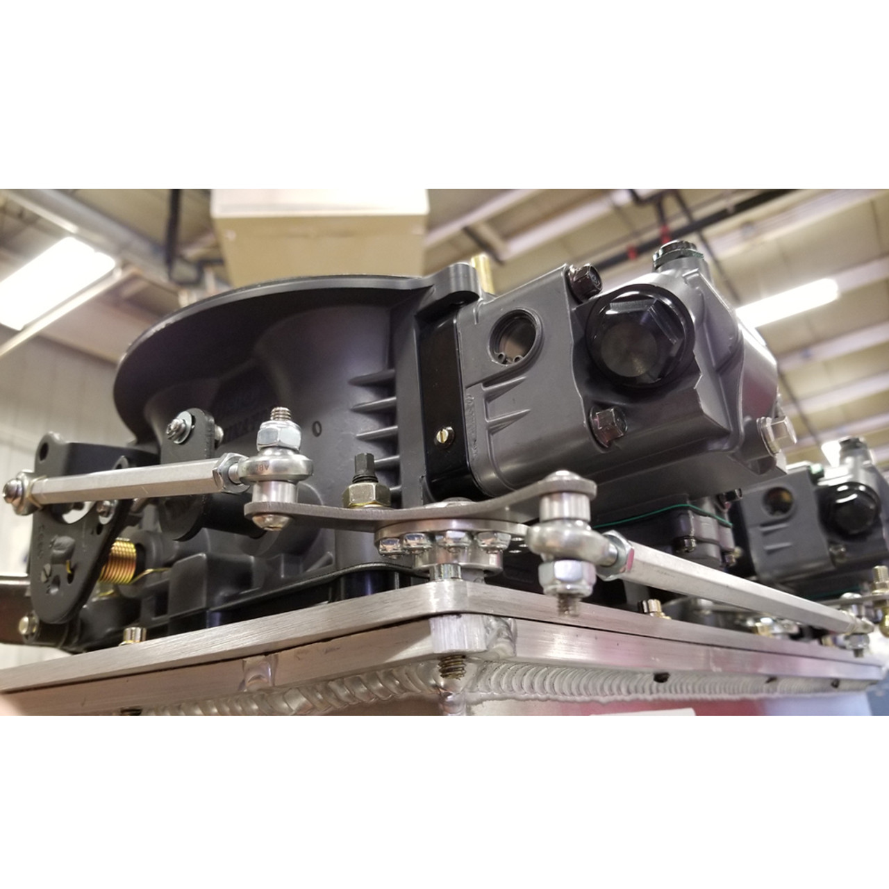 dual bell crank throttle linkage kit installed  [ 1000 x 1000 Pixel ]