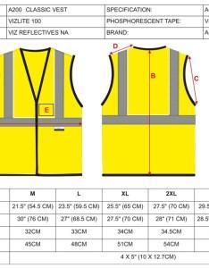 Size chart also alpha workwear class hi vis illuminating safety vest glow  rh safetysmartgear