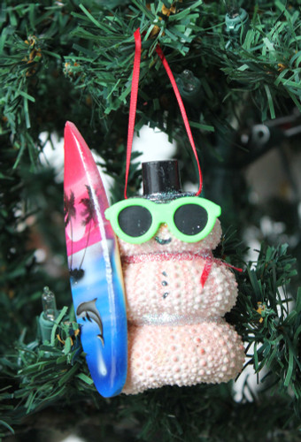 Surfer Pink Sea Urchin Snowman Christmas Ornament