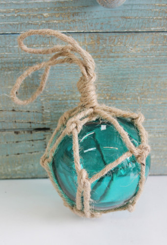 4 Teal Glass Float with Rope  Nautical Themed Decor