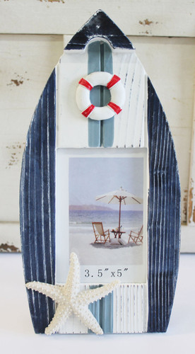 Blue Amp White Wood Boat Picture Frame Nautical Photo