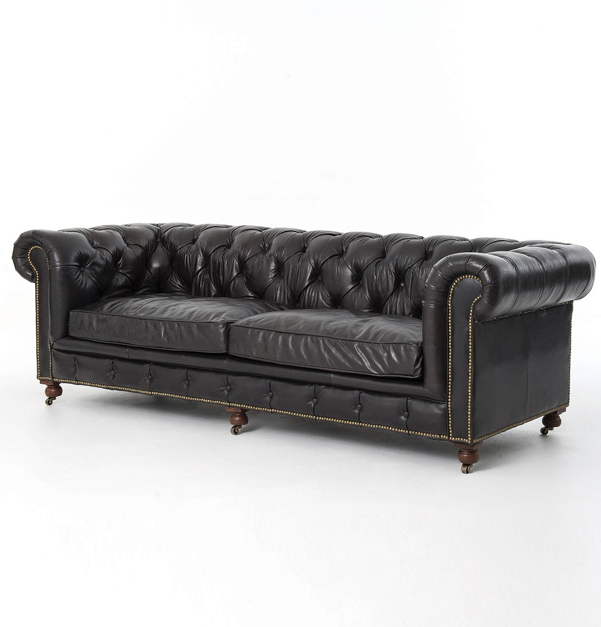tindall 96 leather sofa faux suede conrad quot vintage black chesterfield zin home