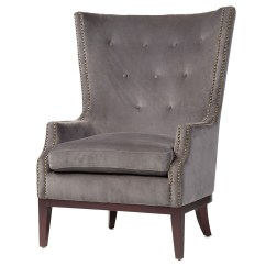 Grey Wing Chair Wood Adirondack Chairs Plans Lillian Velvet Wingback Zin Home