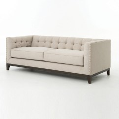 French Linen Tufted Sofa Sectional Sofas Nashville Area Greenwich Modern Nailhead Zin Home