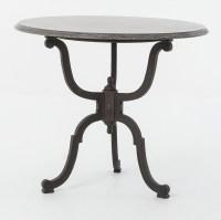 French Industrial Iron + Bluestone Bistro Round Pedestal ...