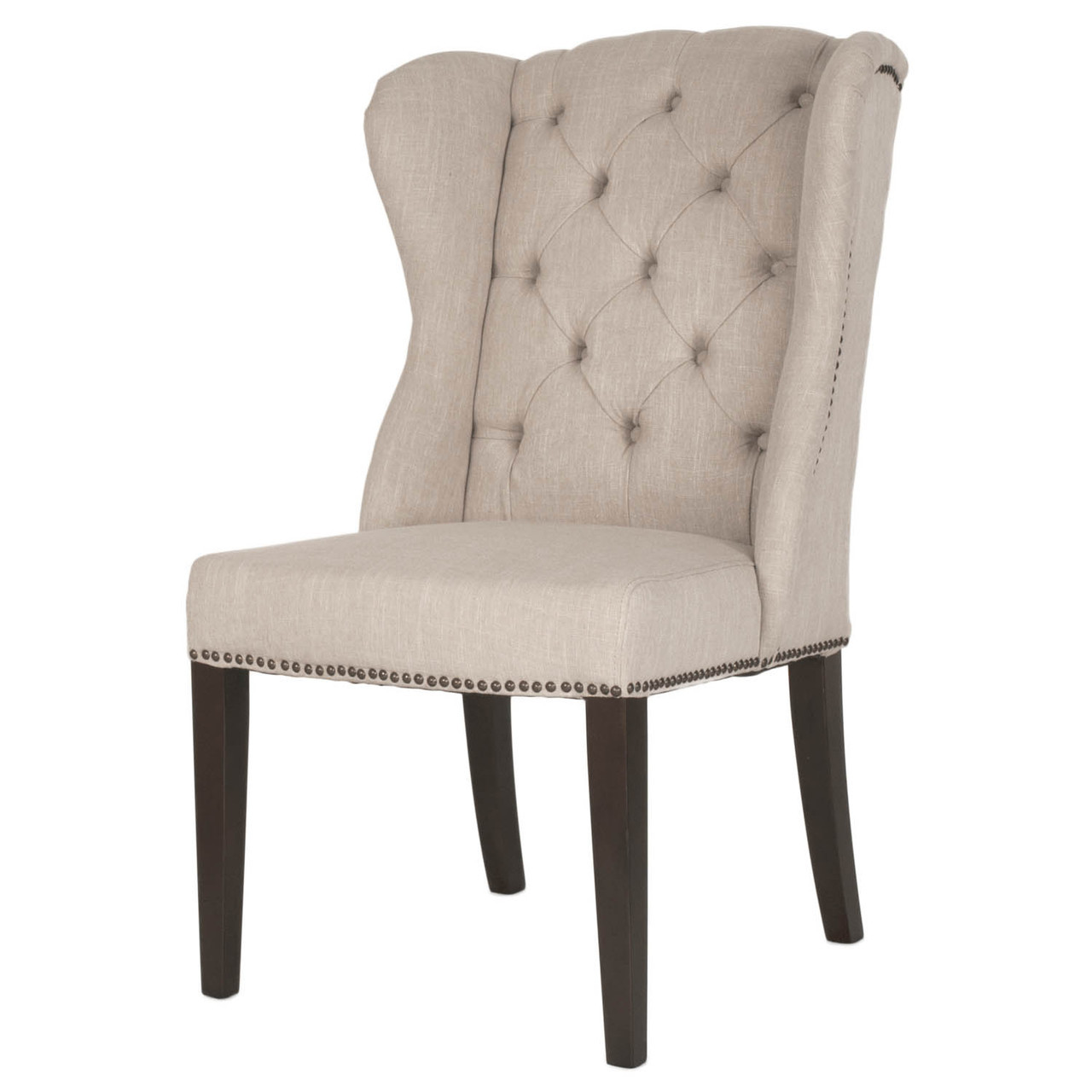 tufted wingback dining chair steel specification maison hostess zin home