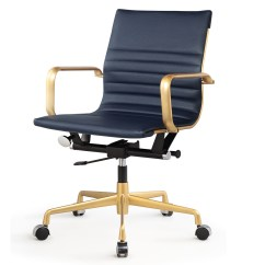 Office Chair Gold Svan High And Navy Blue Vegan Leather M348 Modern Chairs