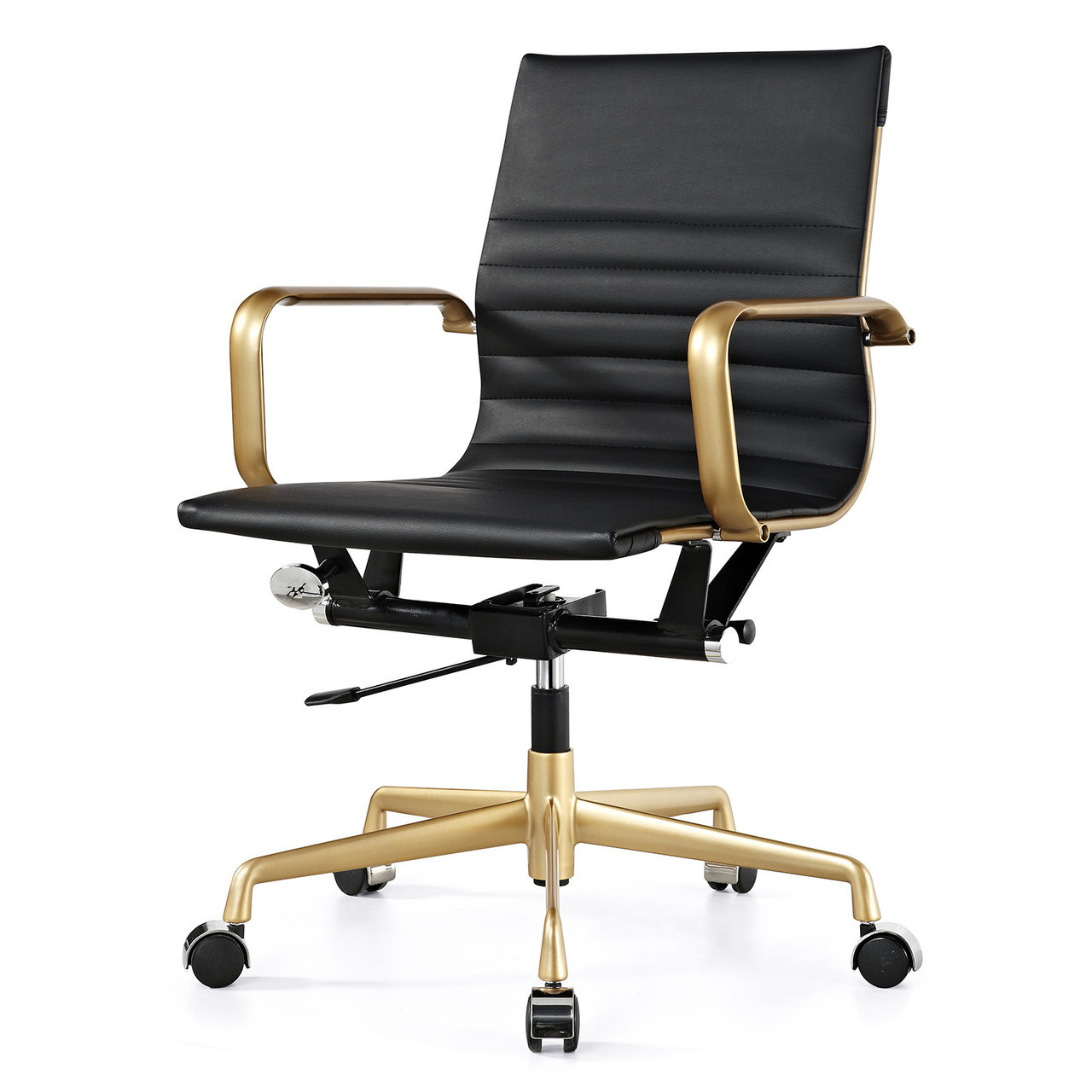office chair gold eddie bauer high pad and black vegan leather m348 modern chairs