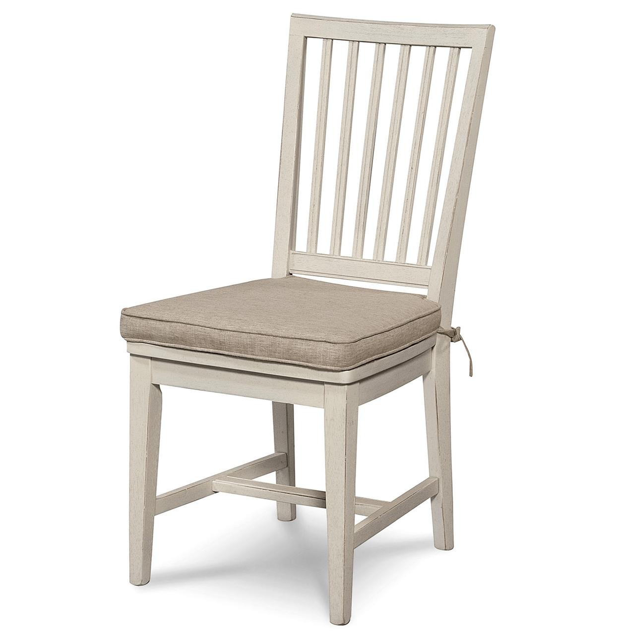 Coastal Beach White Dining Side Chair with Cushion  Zin Home