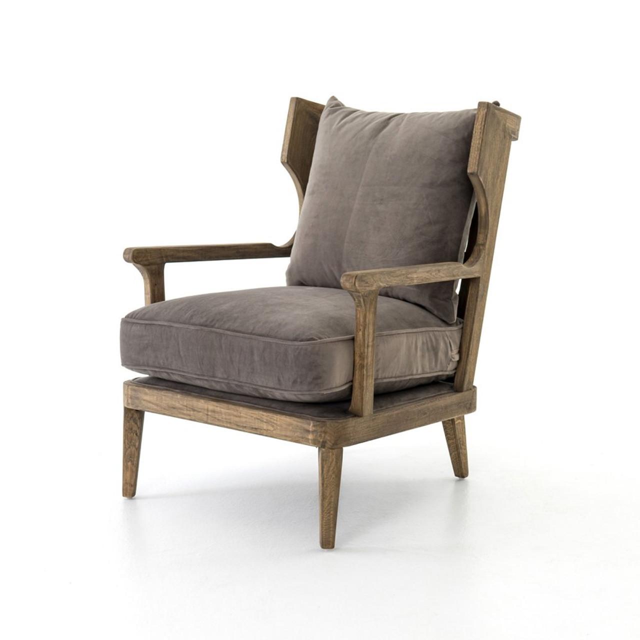 Lennon Exposed Oak Gray Velvet Wingback Chair  Zin Home