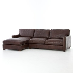 Vintage Leather Sectional Sofa Two Seater Recliner Larkin Cigar With Chaise