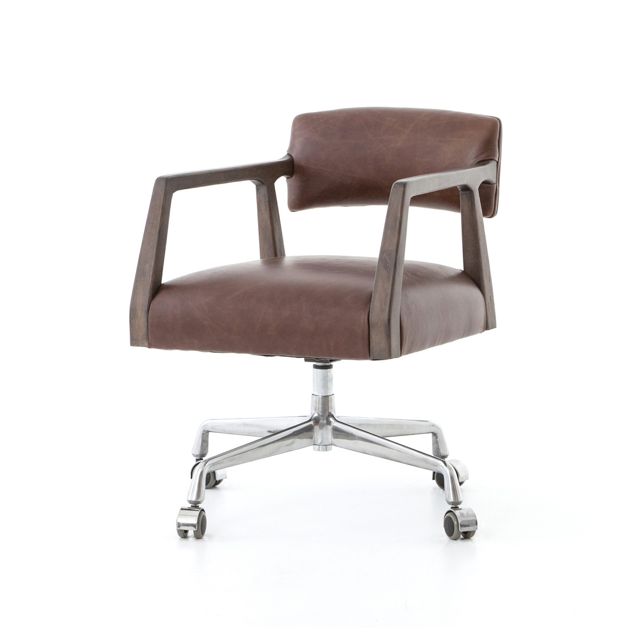 Mid Century Modern Office Chair Tyler Mid Century Modern Brown Leather Office Desk Chair