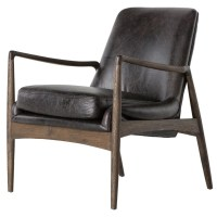 Braden Mid-Century Modern Black Leather Club Chair | Zin Home