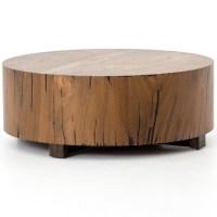 Hudson Round Natural Yukas Wood Block Coffee Table | Zin Home