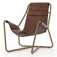 Vera Mid-Century Brown Leather Lounge Chairs - Brass | Zin ...