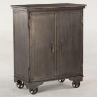 Steampunk Industrial Metal Rolling Bar Cart Cabinet | Zin Home