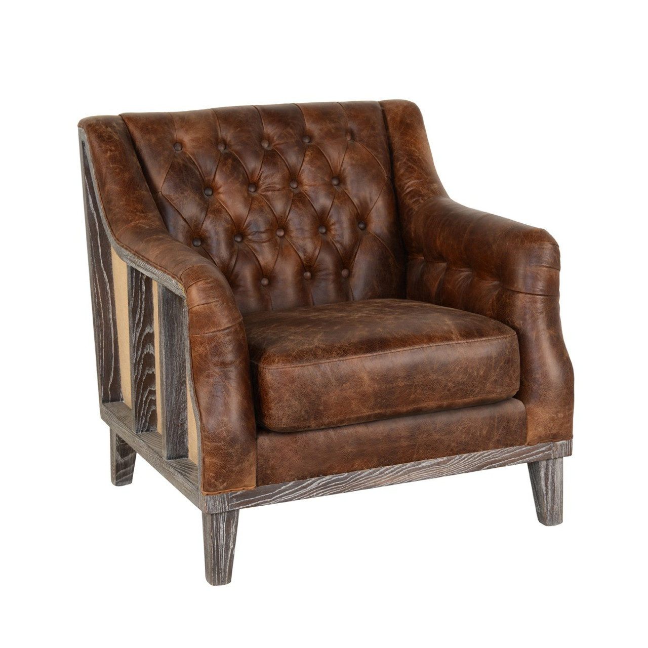 Deconstructed Vintage Leather Club Chair Zin Home