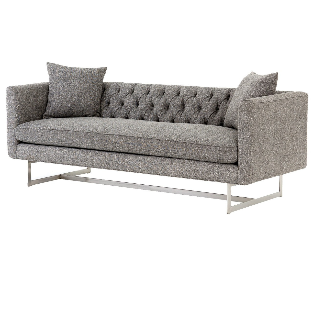 charcoal gray tufted sofa freedom empire review berkshire back grey modern 88 quot zin