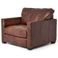 Larkin Vintage Cigar Distressed Leather Club Chair   Zin Home