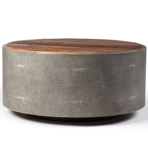 Hampton Rustic Wood Round Barrel Coffee Table 38 Quot Zin Home