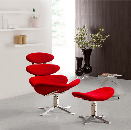 Unique Modern Lounge Chair with Ottoman