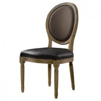 Louis Vintage Leather Round Dining Side Chair | Zin Home