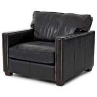 Larkin Vintage Black Distressed Leather Club Chair   Zin Home